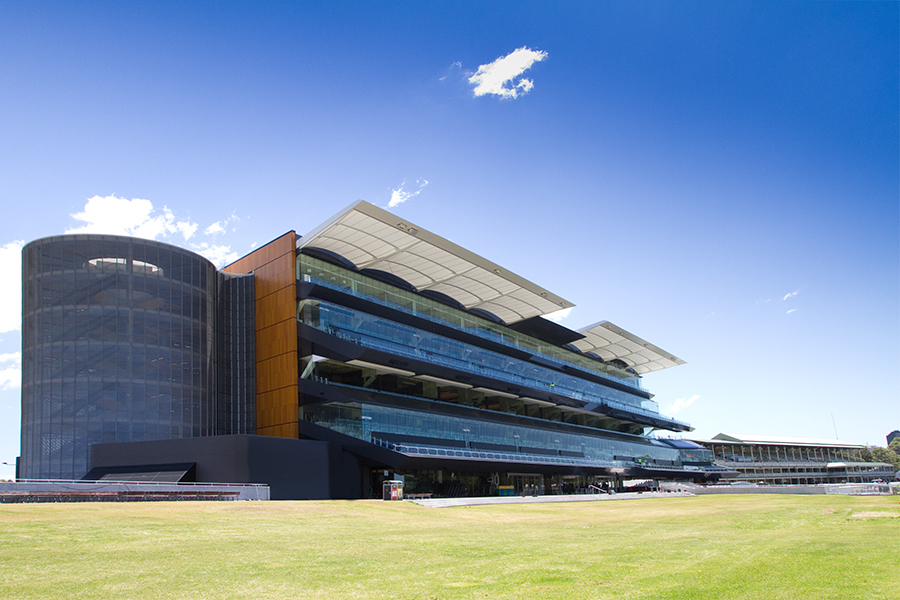 The grandstand at Royal Randwick Racecourse, an exterior architectural shot by Balanced Image Studio of Wollongong